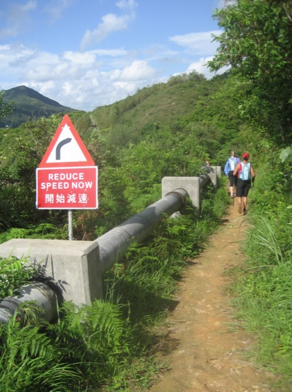 Moontrekker hike from Mui Wo to Checkpoint 3 - 4 Reduce Speed Now Sign