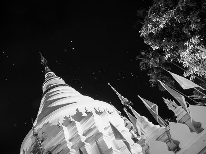 Chiang Mai B&W Favourite 1 Night time temple Lantern Festival