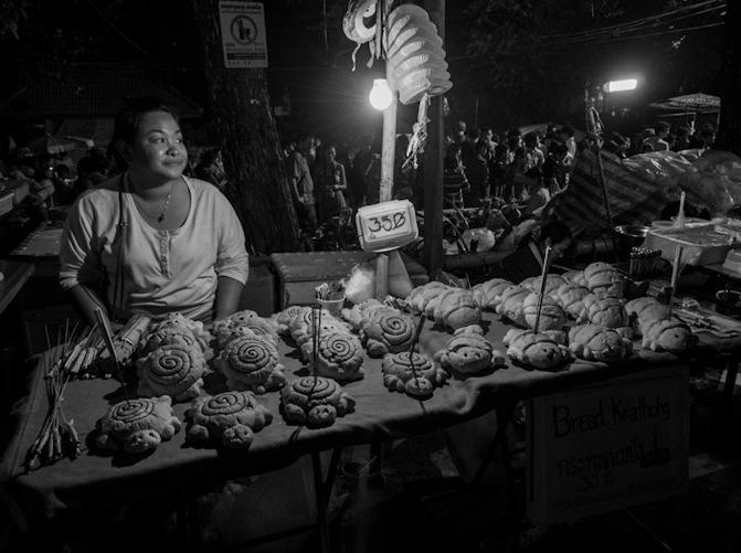 Chiang Mai B&W Favourite 2 Lantern Festival Lady with Loi Krathong