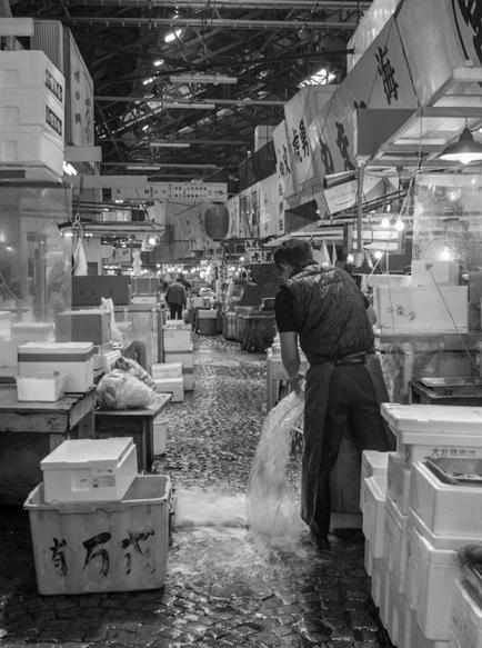 B&W Tsukiji Fish Market 5