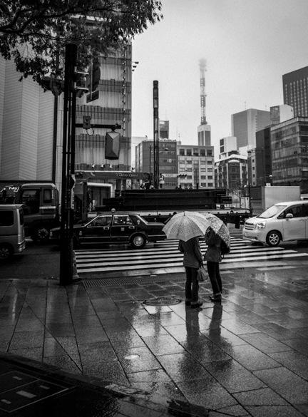 Ginza in the rain B&W 1