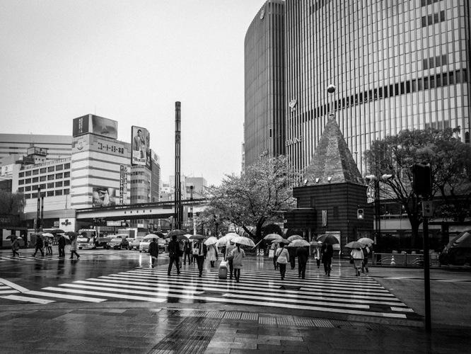 Ginza in the rain B&W 2