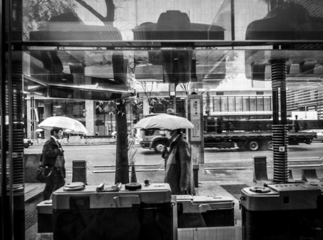 Ginza in the rain B&W 4