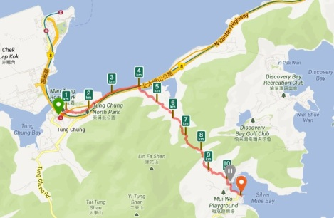 Tung Chung to Mui Wo Hike July 2013 Map
