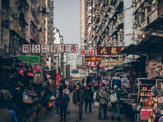 Walking through Sham Shui Po - Busy Street