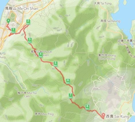 Ma On Shan to Sai Kung 0 Map