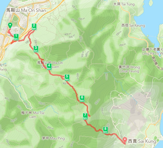 Ma On Shan to Sai Kung 0 Map